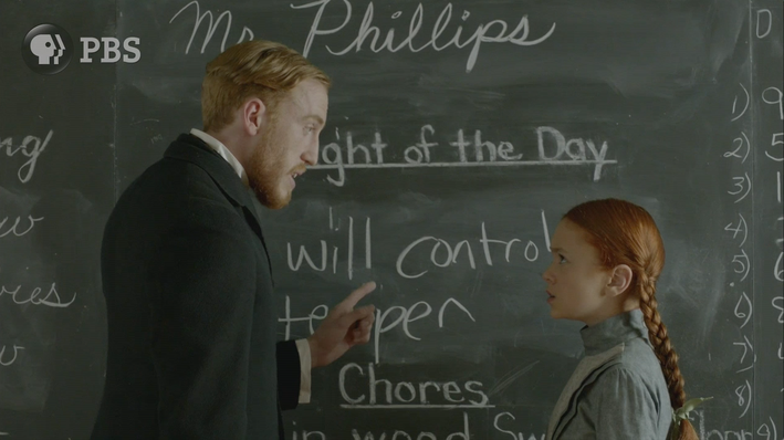Mr. Philips reprimands Anne at the blackboard