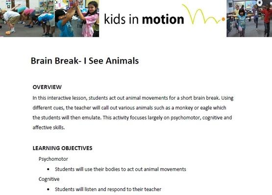Brain Break- I See Animals