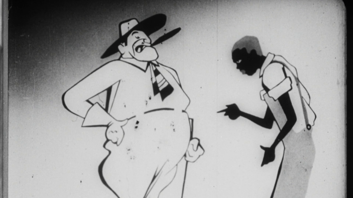 Still from animation depicting black man with head down facing white man looking down on him