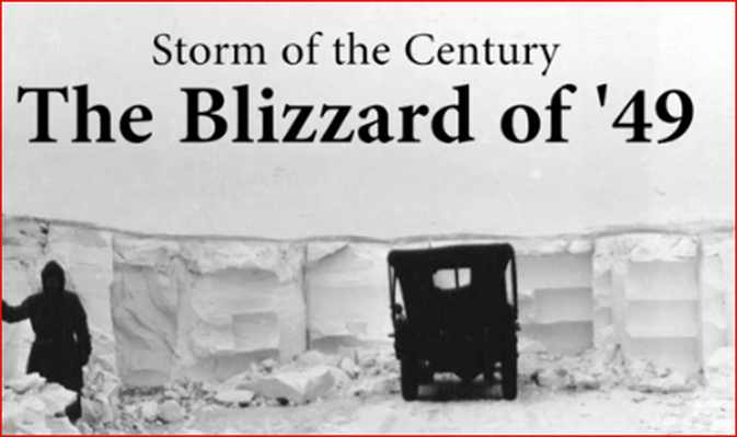 image of a car in the high snow drifts during the Blizzard of '49