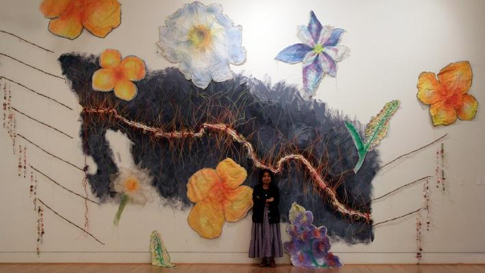 "Consuelo Jimenez Underwood with ""Undocumented Border Flowers,"" 2010 