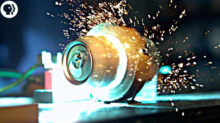 Exploding Soda Cans with Electromagnets in SLOW MOTION (Featuring Joe Hanson) | Physics Girl