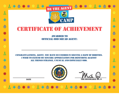 Certificate of Achievement - Odd Squad | Be the Agent Camp