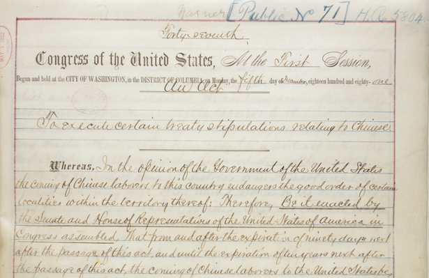 Chinese Exclusion Act (1882) and Resource Materials
