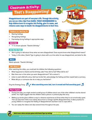 Classroom Activity: That's Disappointing | Daniel Tiger's Neighborhood