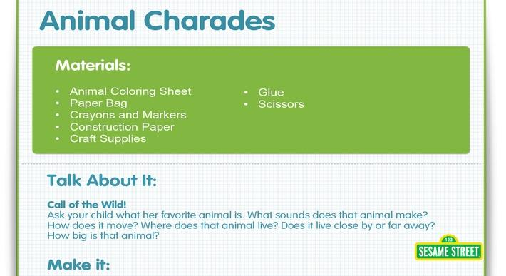 Animal Charades Craft | Sesame Street