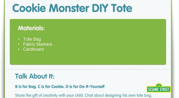 Cookie Monster DIY Tote Craft | Sesame Street