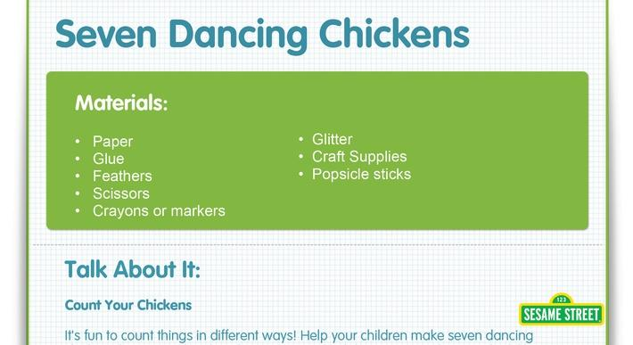 Seven Dancing Chickens Craft | Sesame Street