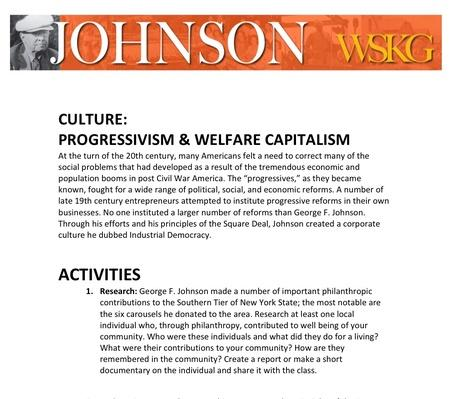 CULTURE: Progressivism & Welfare Capitalism Activities