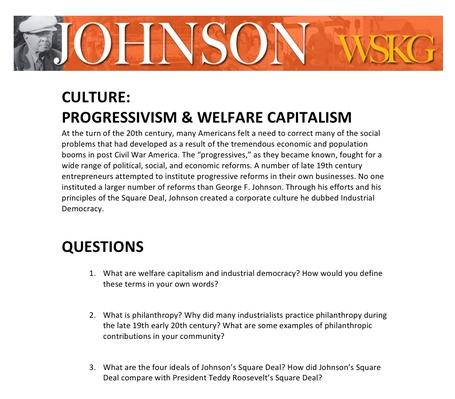 CULTURE: Progressivism & Welfare Capitalism Discussion Questions