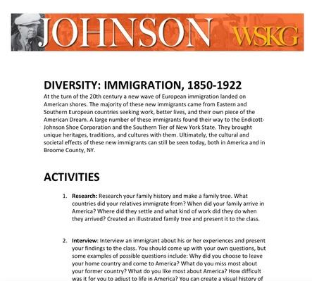 DIVERSITY: Immigration, 1850-1922 Activities