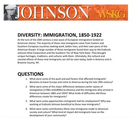 DIVERSITY: Immigration, 1850-1922 Discussion Questions