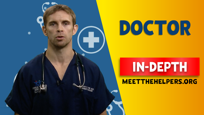 Doctor In-Depth. Male with blue scrubs and stethoscope.