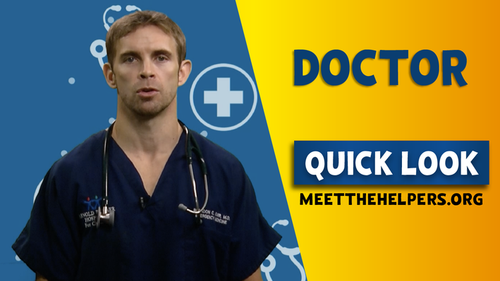 Doctor Quick Look. Doctor with blue scrubs and stethoscope around his neck.