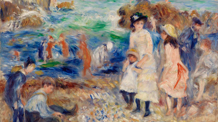 Children on the Seashore, Guernsey (Enfants au bord de la mer à Guernesey), Pierre-Auguste Renoir