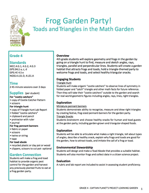 Frog Garden Party! Toads and Triangles in the Math Garden | Project Learning Garden