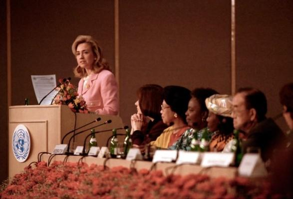 First Lady Hillary Clinton at the United Nations Conference on Women in Beijing, China