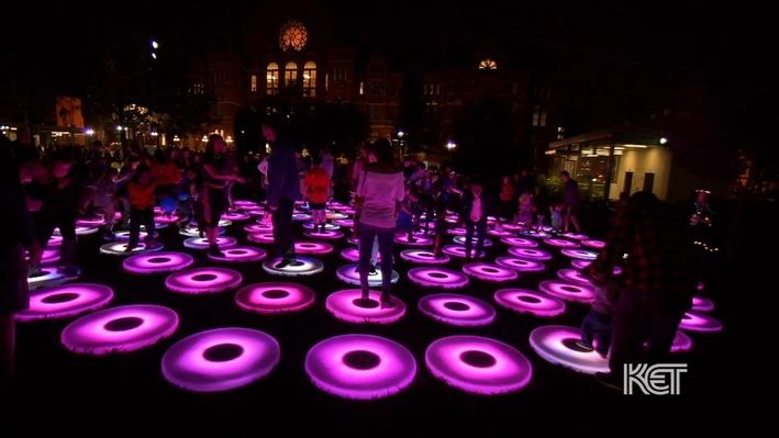 Photo of The Pool, a lighted interactive art installation.