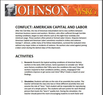 CONFLICT: American Capital and Labor Activities