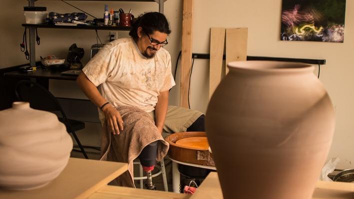 Ceramic Artist and Veteran Judas Recendez Throwing a Vessel | Craft in America