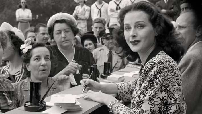 Hedy Lamarr selling war bonds during World War II.