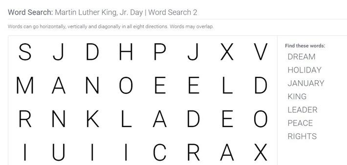 Martin Luther King, Jr. Day | Word Search 2