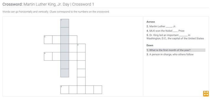 Martin Luther King, Jr. Day | Crossword 1