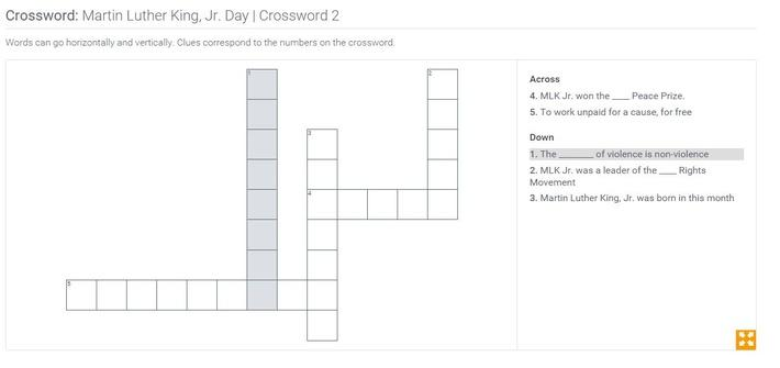 Martin Luther King, Jr. Day | Crossword 2