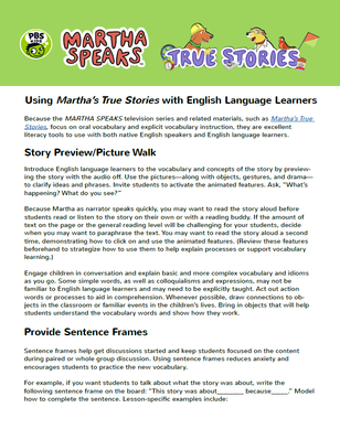 True Stories with English Language Learners | Martha Speaks - pdf