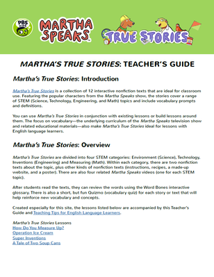 True Stories Teacher's Guide | Martha Speaks - pdf