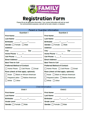Image of Family & Community Learning Registration Form