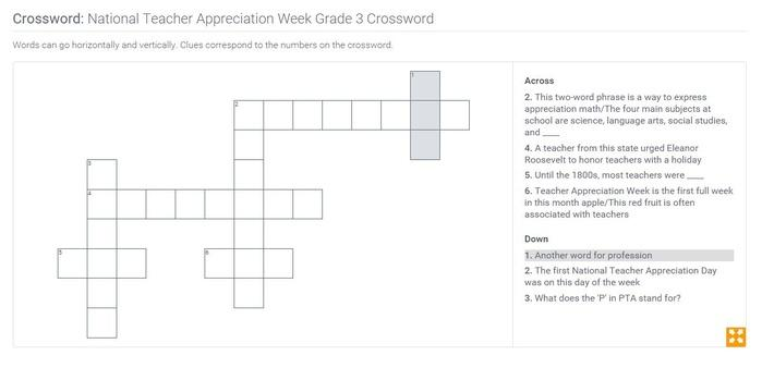National Teacher Appreciation Week | Grade 3 Crossword