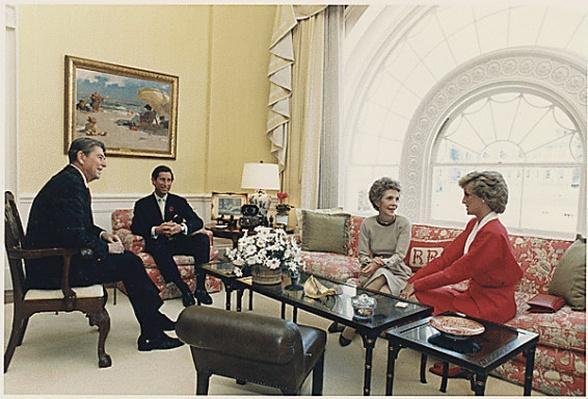 Reagans having tea with Prince Charles and Princess Diana