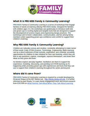 Image of Family & Community Learning One-Pager