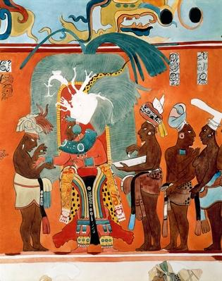 Dressing the Mayan High Priest, from Reconstruction of Bonampak Frescoes at Maya Archaelogicial Site