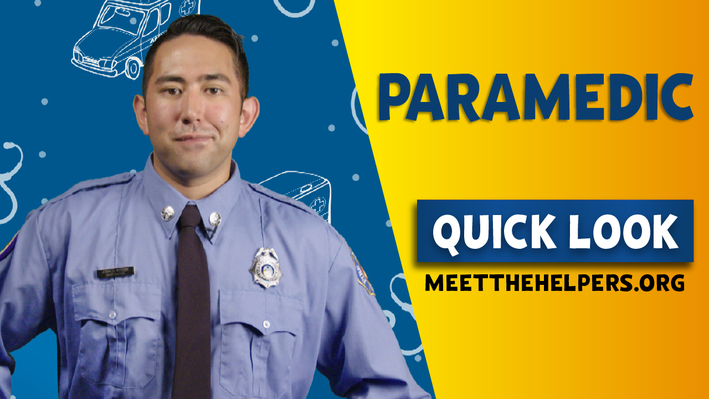 Paramedic Quick Look. Man with long sleeve blue shirt, tie, badge, and nametag.
