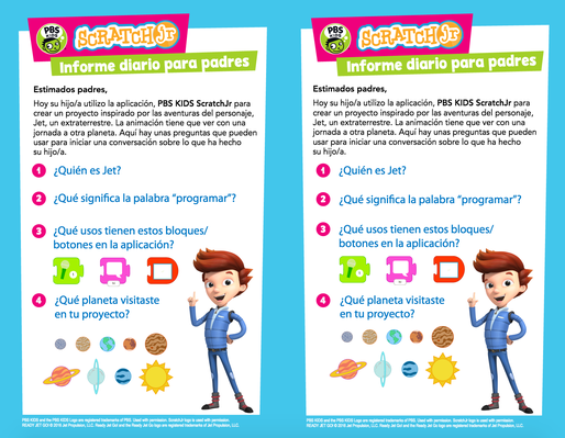 Parent Handout (Spanish) - READY JET GO!  | PBS KIDS ScratchJr - pdf