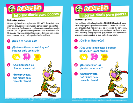 Parent Handout (Spanish) - NATURE CAT | PBS KIDS ScratchJr - pdf