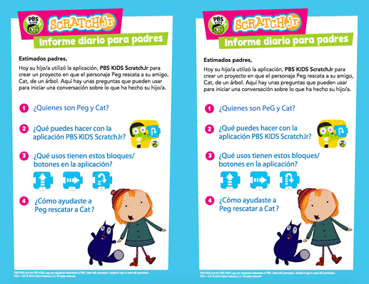 Parent Handout (Spanish) - PEG + CAT | PBS KIDS ScratchJr - pdf