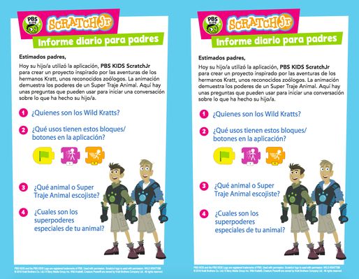 Parent Handout (Spanish) - WILD KRATTS | PBS KIDS ScratchJr - pdf
