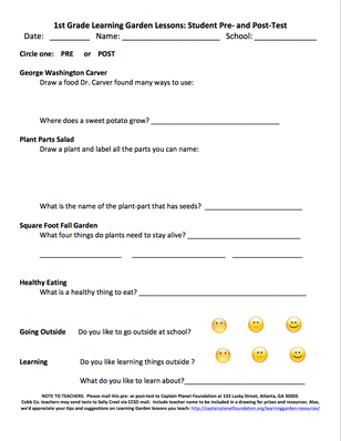Learning Garden Lessons: Student Pre- and Post-Test: Grade 1 | Project Learning Garden