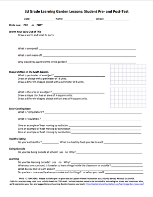 Learning Garden Lessons: Student Pre- and Post-Test: Grade 3 | Project Learning Garden