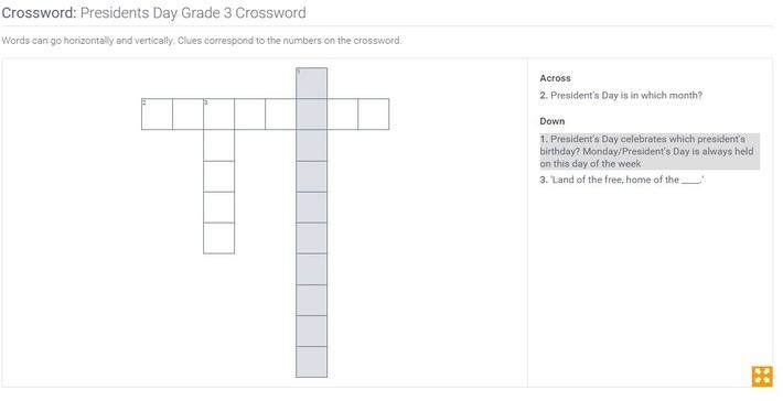 Presidents Day | Grade 3 Crossword