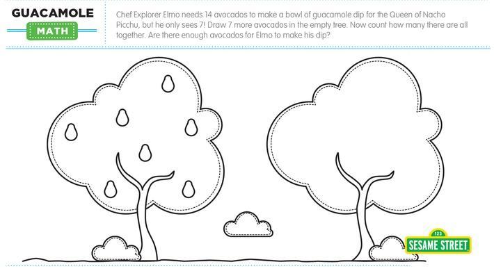 Elmo the Musical: Guacamole Math Printable | Sesame Street