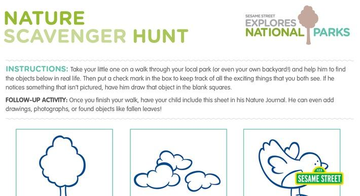 National Parks Printable Nature Scavenger Hunt | Sesame Street