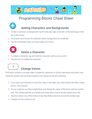 Programming Blocks Cheat Sheet | PBS KIDS ScratchJr