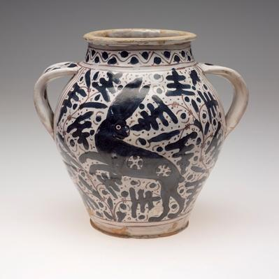Double-handed drug jar (orciuolo) with oak leaves and leaping hare / RISD STEAM