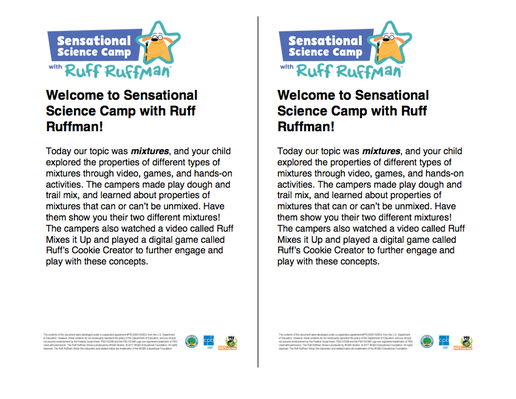 Parent Letters - Sensational Science Camp with Ruff Ruffman | RTL 2015-2020