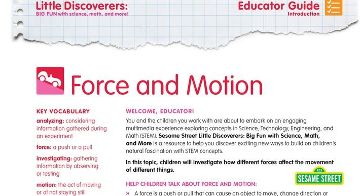 Force and Motion Educator Guide | Sesame Street