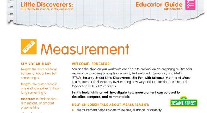 Measurement Educator Guide | Sesame Street